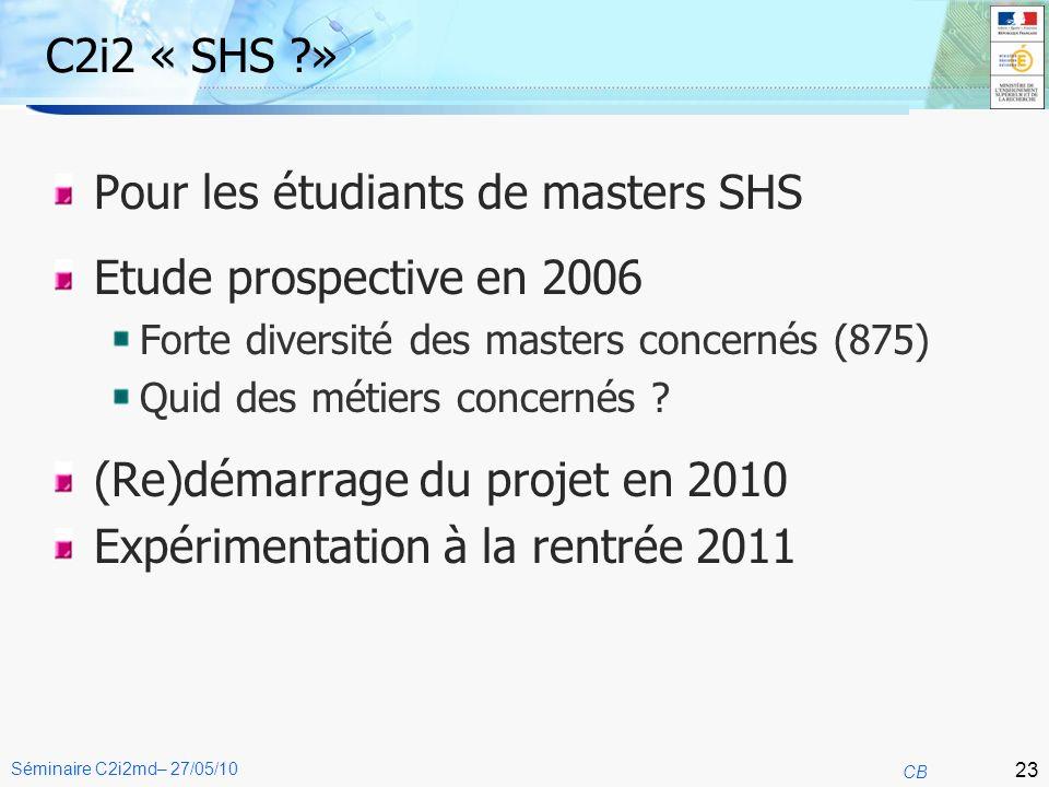 23 CB Séminaire C2i2md– 27/05/10 C2i2 « SHS » Pour les étudiants de masters SHS Etude prospective en 2006 Forte diversité des masters concernés (875) Quid des métiers concernés .