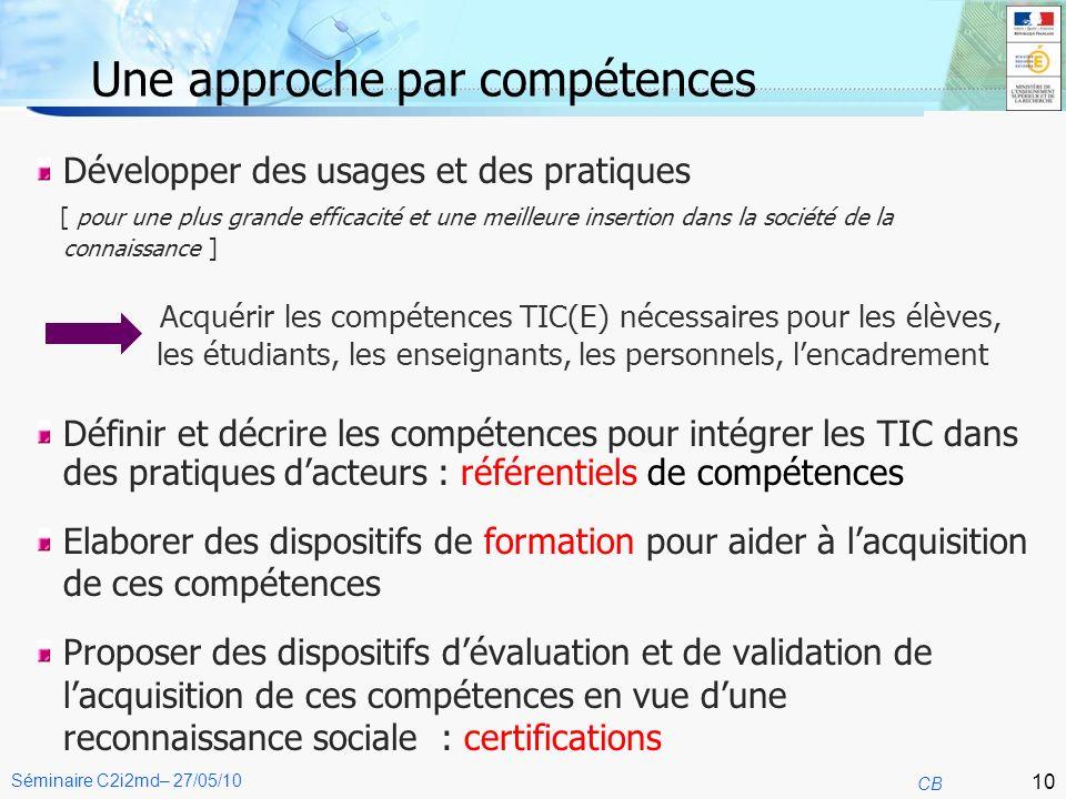11 CB Séminaire C2i2md– 27/05/10 Création des attestations et certificats B2i Acquérir les compétences nécessaires pour devenir un citoyen à l ère du numérique.