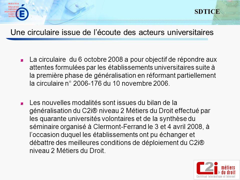 3 SDTICE Une circulaire issue de lécoute des acteurs universitaires La circulaire du 6 octobre 2008 a pour objectif de répondre aux attentes formulées par les établissements universitaires suite à la première phase de généralisation en réformant partiellement la circulaire n° 2006-176 du 10 novembre 2006.