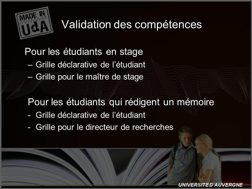 UNIVERSITE DAUVERGNE Validation des compétences Pour les étudiants en stage –Grille déclarative de létudiant –Grille pour le maître de stage Pour les étudiants qui rédigent un mémoire -Grille déclarative de létudiant -Grille pour le directeur de recherches