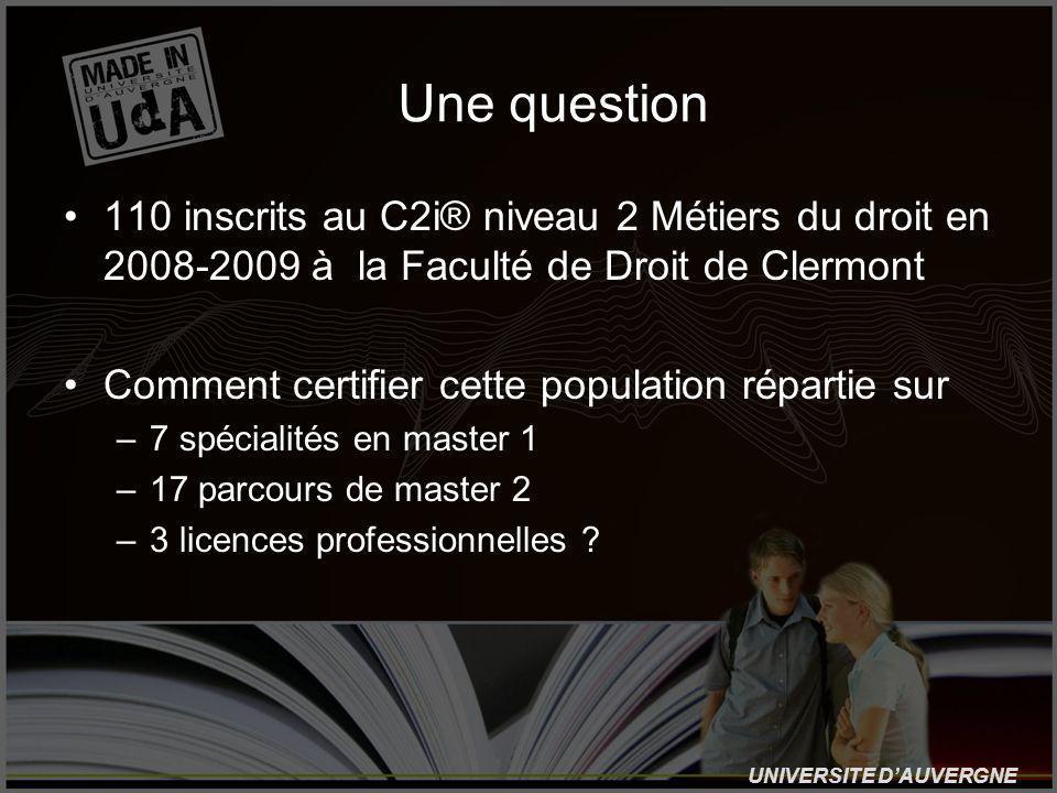 UNIVERSITE DAUVERGNE Une question 110 inscrits au C2i® niveau 2 Métiers du droit en 2008-2009 à la Faculté de Droit de Clermont Comment certifier cette population répartie sur –7 spécialités en master 1 –17 parcours de master 2 –3 licences professionnelles ?