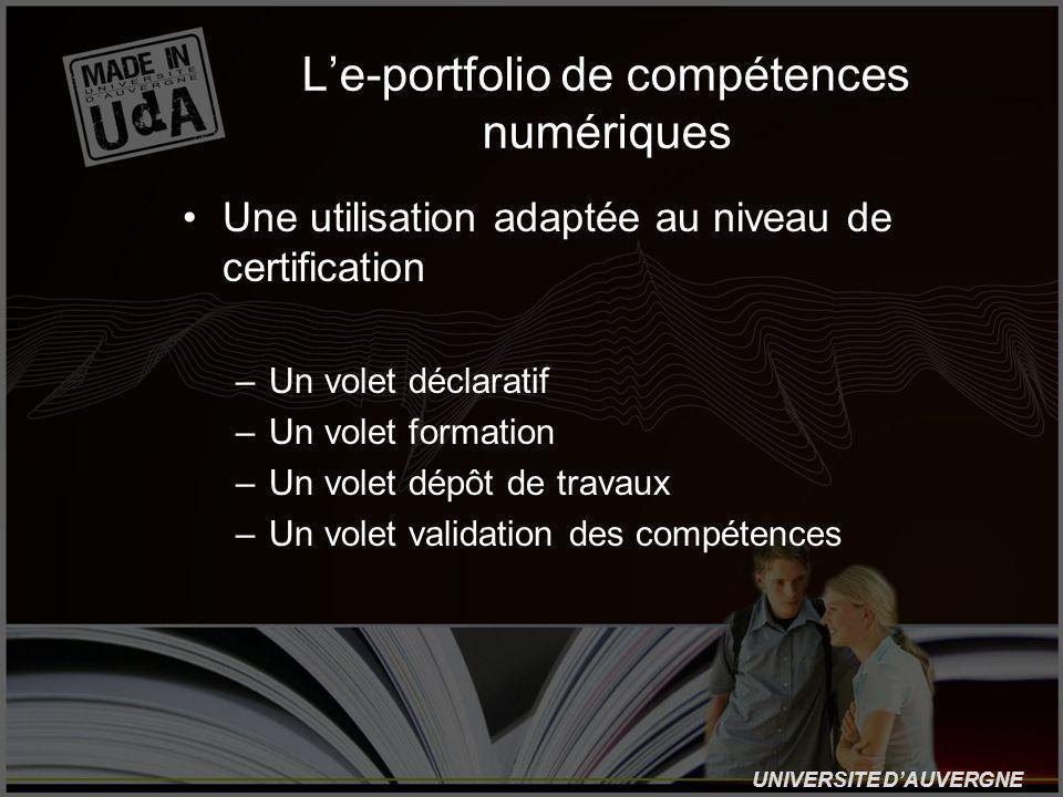 UNIVERSITE DAUVERGNE Le-portfolio de compétences numériques Une utilisation adaptée au niveau de certification –Un volet déclaratif –Un volet formation –Un volet dépôt de travaux –Un volet validation des compétences
