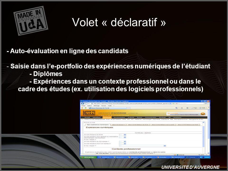UNIVERSITE DAUVERGNE Volet « déclaratif » - Auto-évaluation en ligne des candidats - Saisie dans le-portfolio des expériences numériques de létudiant