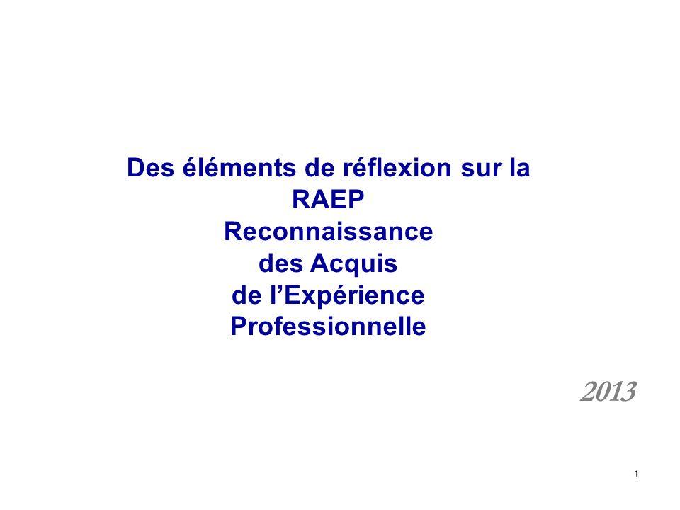 1 Des éléments de réflexion sur la RAEP Reconnaissance des Acquis de lExpérience Professionnelle 2013