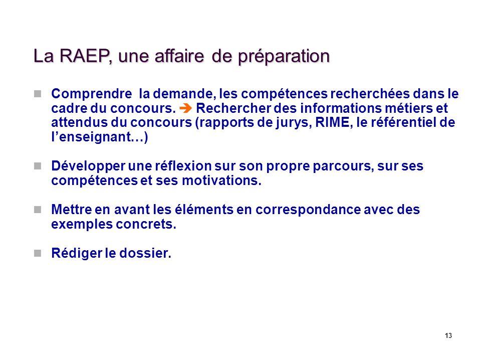 13 La RAEP, une affaire de préparation Comprendre la demande, les compétences recherchées dans le cadre du concours. Rechercher des informations métie
