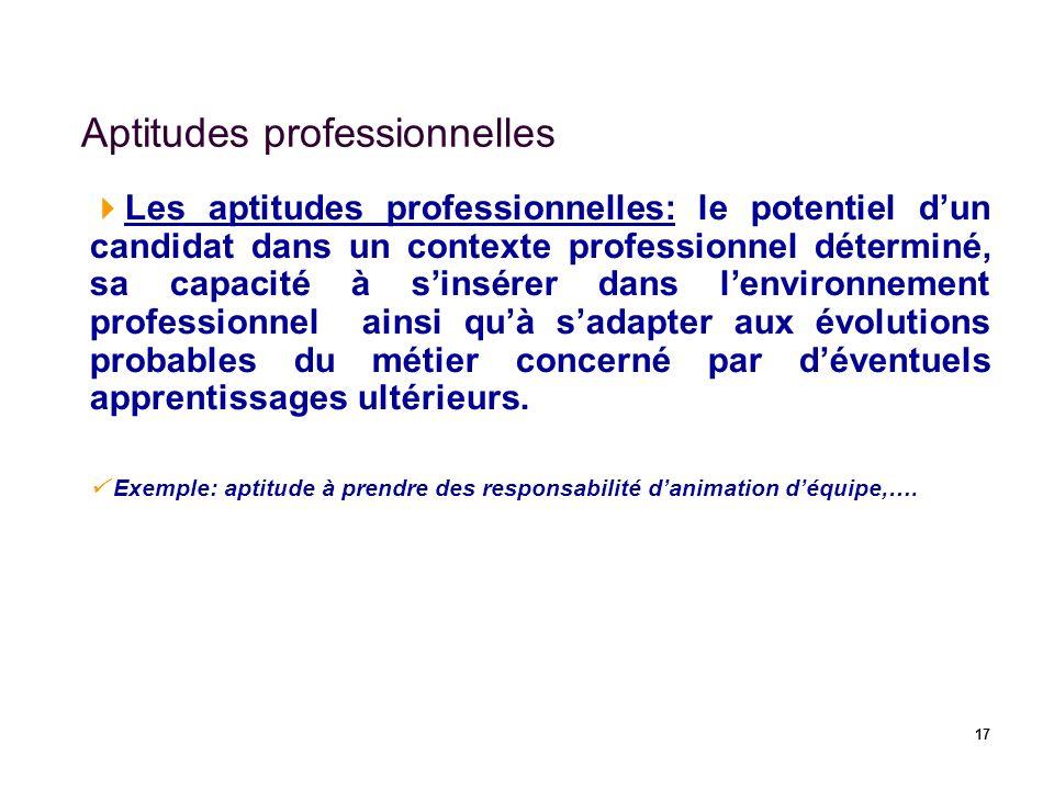 17 Aptitudes professionnelles Les aptitudes professionnelles: le potentiel dun candidat dans un contexte professionnel déterminé, sa capacité à sinsér