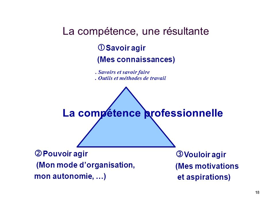 18 La compétence, une résultante Savoir agir (Mes connaissances) Pouvoir agir (Mon mode dorganisation, mon autonomie, …) Vouloir agir (Mes motivations