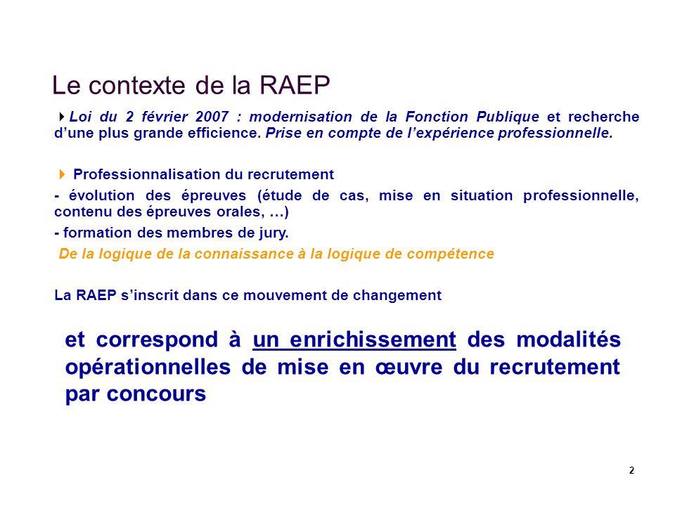 2 Le contexte de la RAEP Loi du 2 février 2007 : modernisation de la Fonction Publique et recherche dune plus grande efficience. Prise en compte de le