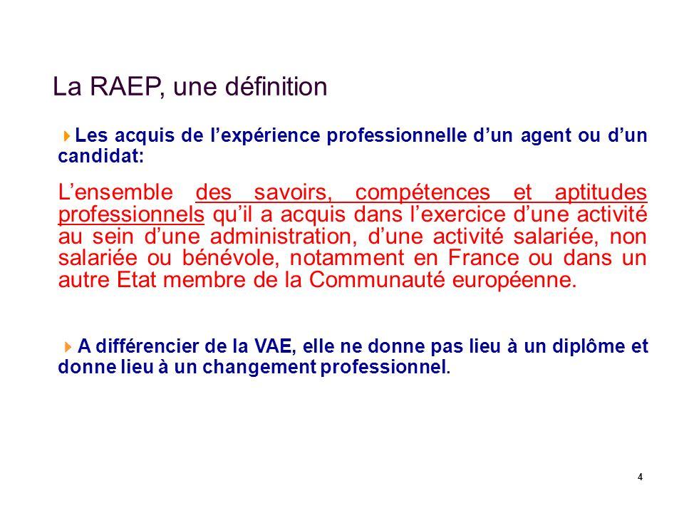 4 La RAEP, une définition Les acquis de lexpérience professionnelle dun agent ou dun candidat: Lensemble des savoirs, compétences et aptitudes profess