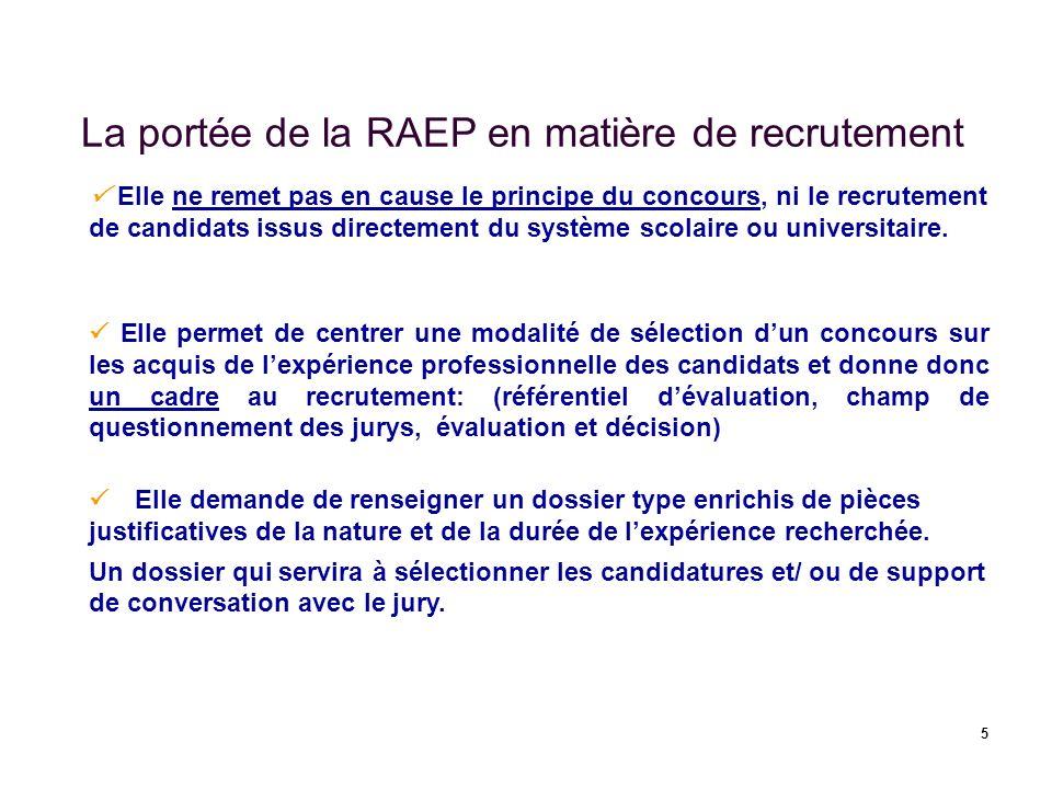 5 La portée de la RAEP en matière de recrutement Elle ne remet pas en cause le principe du concours, ni le recrutement de candidats issus directement