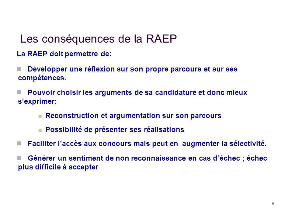 6 Les conséquences de la RAEP La RAEP doit permettre de: Développer une réflexion sur son propre parcours et sur ses compétences. Pouvoir choisir les