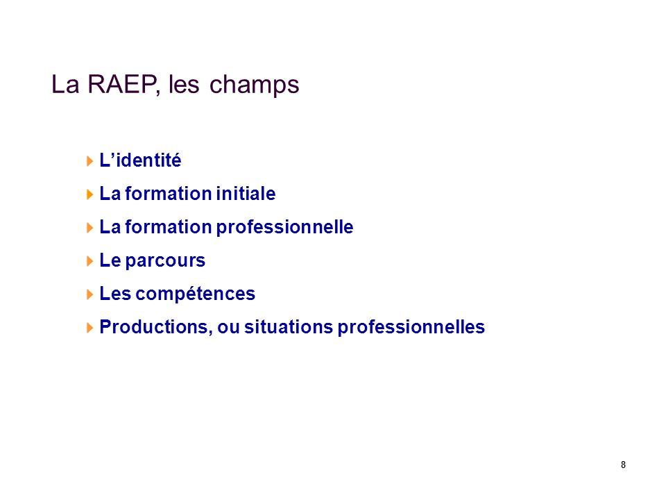 8 La RAEP, les champs Lidentité La formation initiale La formation professionnelle Le parcours Les compétences Productions, ou situations professionne