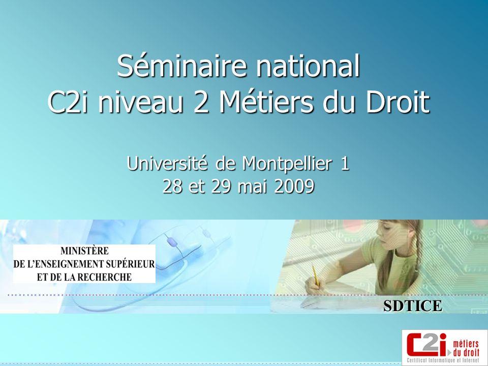 SDTICE Séminaire national C2i niveau 2 Métiers du Droit Université de Montpellier 1 28 et 29 mai 2009