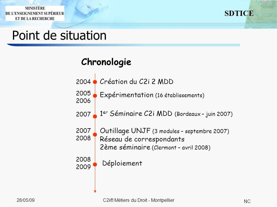 3 SDTICE NC 28/05/09C2i® Métiers du Droit - Montpellier Point de situation Chronologie Création du C2i 2 MDD Expérimentation (16 établissements) 2004 2005 2006 2007 1 er Séminaire C2i MDD (Bordeaux – juin 2007) 2007 2008 Outillage UNJF (3 modules – septembre 2007) Réseau de correspondants 2ème séminaire (Clermont – avril 2008) 2008 2009 Déploiement