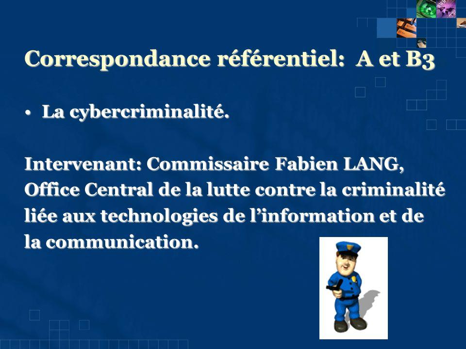 Correspondance référentiel: A et B3 La cybercriminalité.La cybercriminalité.