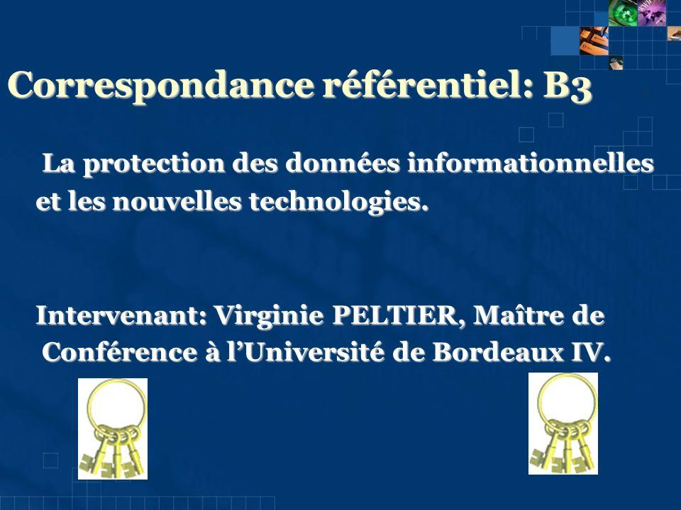 Correspondance référentiel: B3 La protection des données informationnelles La protection des données informationnelles et les nouvelles technologies.