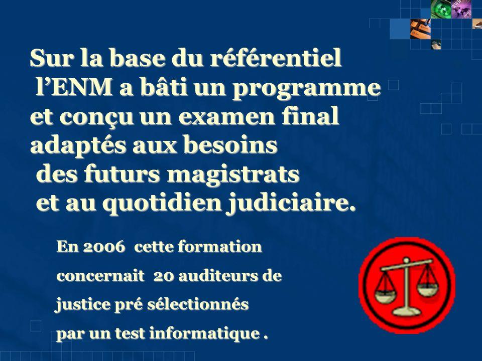Sur la base du référentiel lENM a bâti un programme lENM a bâti un programme et conçu un examen final adaptés aux besoins des futurs magistrats des futurs magistrats et au quotidien judiciaire.