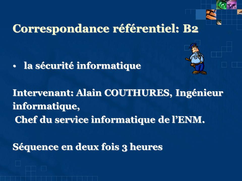Correspondance référentiel: B2 la sécurité informatique la sécurité informatique Intervenant: Alain COUTHURES, Ingénieur informatique, Chef du service informatique de lENM.