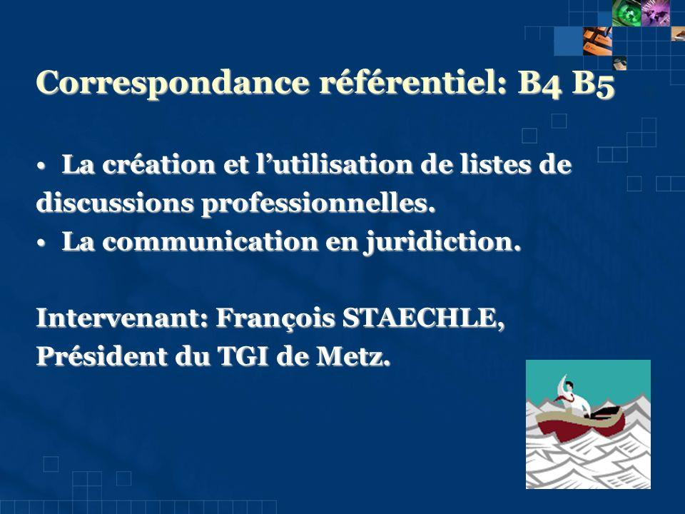 Correspondance référentiel: B4 B5 La création et lutilisation de listes deLa création et lutilisation de listes de discussions professionnelles.
