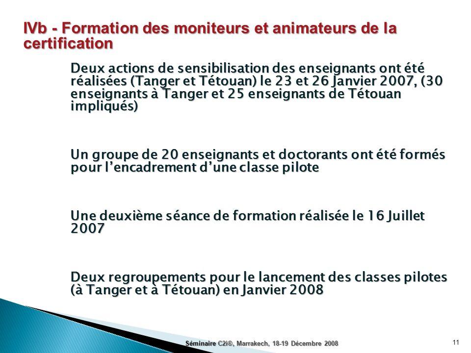 11 IVb - Formation des moniteurs et animateurs de la certification Deux actions de sensibilisation des enseignants ont été réalisées (Tanger et Tétoua