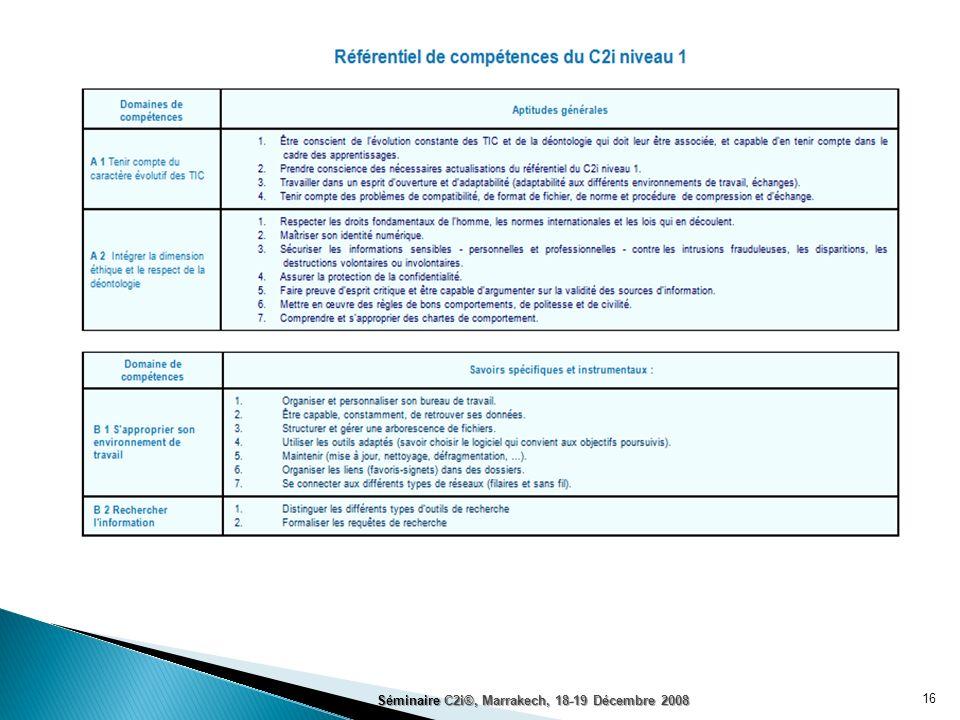 16 Séminaire C2i®, Marrakech, 18-19 Décembre 2008