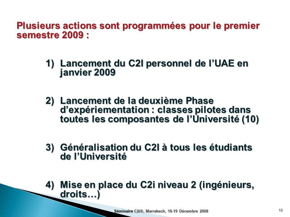 19 Plusieurs actions sont programmées pour le premier semestre 2009 : 1)Lancement du C2I personnel de lUAE en janvier 2009 2)Lancement de la deuxième