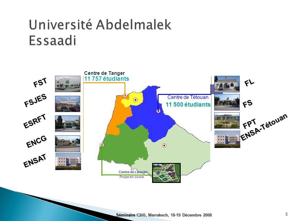 Centre de Tétouan Centre de Tanger Centre de Larache 11 757 étudiants 11 500 étudiants Projet en cours ENSAT ENCG ESRFT FSJES FST FPT FS FL ENSA-Tétou
