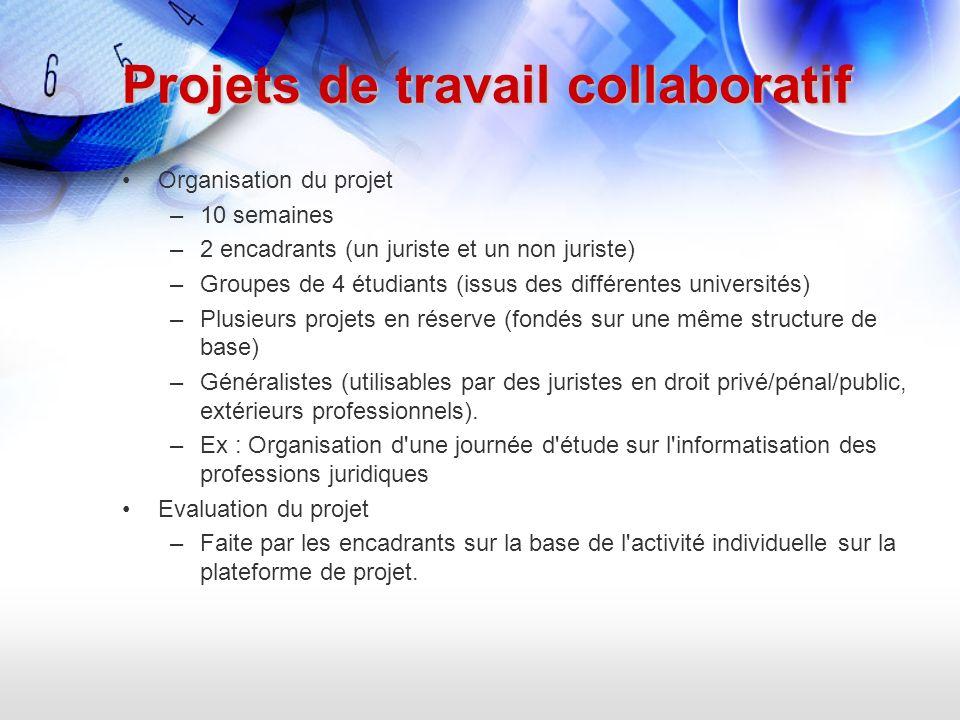 Projets de travail collaboratif Organisation du projet –10 semaines –2 encadrants (un juriste et un non juriste) –Groupes de 4 étudiants (issus des di