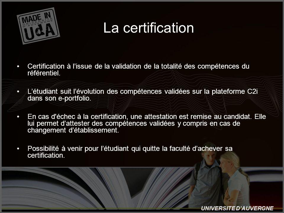 UNIVERSITE DAUVERGNE La certification Certification à lissue de la validation de la totalité des compétences du référentiel. Létudiant suit lévolution