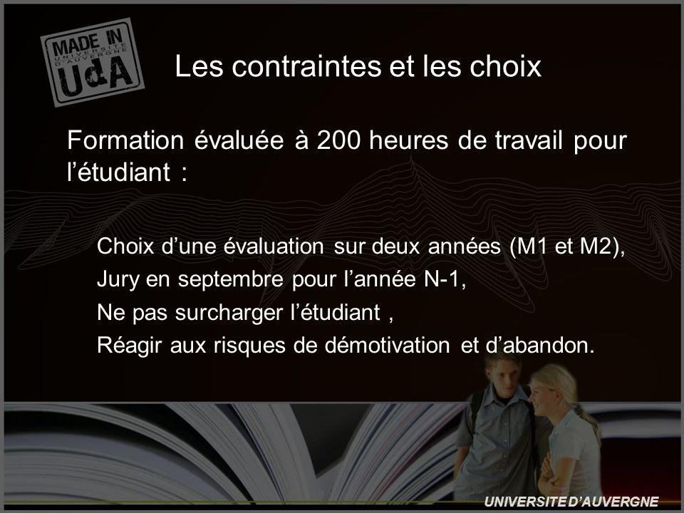 UNIVERSITE DAUVERGNE Les contraintes et les choix -Formation évaluée à 200 heures de travail pour létudiant : -Choix dune évaluation sur deux années (