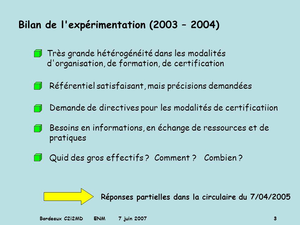 Bordeaux C2i2MD ENM 7 juin 2007 4 Adéquation des thèmes de formation (quantification par volume horaire) aux domaines de compétences du référentiel (chiffrage sur 6 centres) défaut à corriger sur la formation : prépondérance de la bureautique de base pondération des domaines de compétences expérimentation 2003-2004