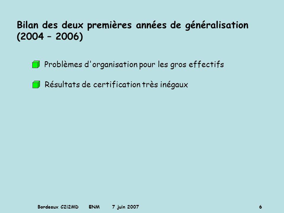 Bordeaux C2i2MD ENM 7 juin 2007 6 Bilan des deux premières années de généralisation (2004 – 2006) Problèmes d'organisation pour les gros effectifs Rés