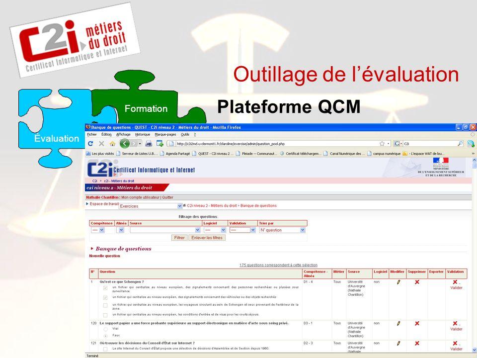 SDTICE Outillage de lévaluation Plateforme QCM Application spécialisée E-portfolio Formation Évaluation