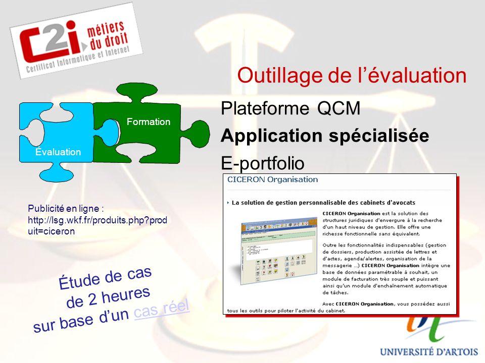 SDTICE Outillage de lévaluation Plateforme QCM Application spécialisée E-portfolio Formation Publicité en ligne : http://lsg.wkf.fr/produits.php prod uit=ciceron Évaluation Étude de cas de 2 heures sur base dun cas réelcas réel