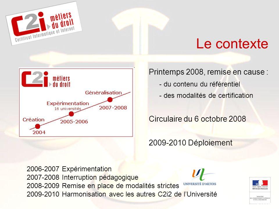 SDTICE Le contexte Printemps 2008, remise en cause : - du contenu du référentiel - des modalités de certification Circulaire du 6 octobre 2008 2009-20