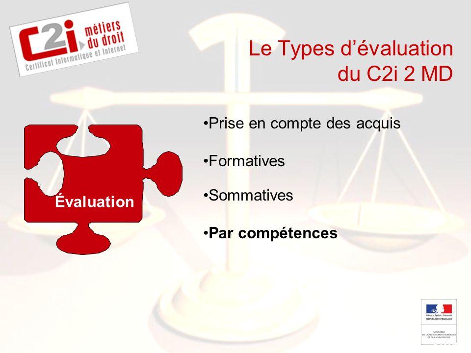 SDTICE Le Types dévaluation du C2i 2 MD Évaluation Prise en compte des acquis Formatives Sommatives Par compétences