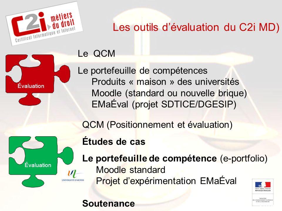 SDTICE Les outils dévaluation du C2i MD) Le QCM Le portefeuille de compétences Produits « maison » des universités Moodle (standard ou nouvelle brique
