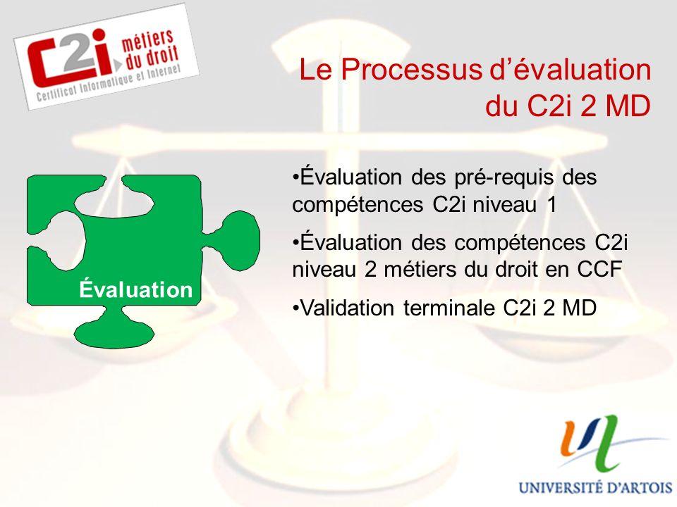 SDTICE Le Processus dévaluation du C2i 2 MD Évaluation Évaluation des pré-requis des compétences C2i niveau 1 Évaluation des compétences C2i niveau 2 métiers du droit en CCF Validation terminale C2i 2 MD