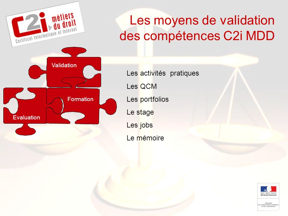 SDTICE Les moyens de validation des compétences C2i MDD Evaluation Formation Les activités pratiques Les QCM Les portfolios Le stage Les jobs Le mémoire Validation