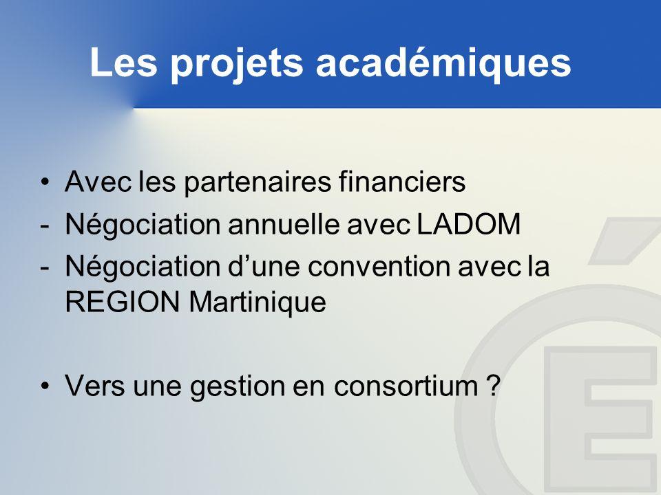 Les projets académiques Avec les partenaires financiers -Négociation annuelle avec LADOM -Négociation dune convention avec la REGION Martinique Vers une gestion en consortium