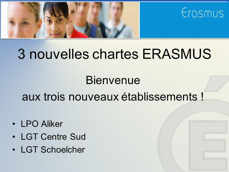 3 nouvelles chartes ERASMUS Bienvenue aux trois nouveaux établissements .