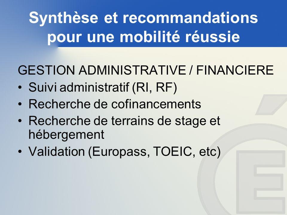 Synthèse et recommandations pour une mobilité réussie GESTION ADMINISTRATIVE / FINANCIERE Suivi administratif (RI, RF) Recherche de cofinancements Recherche de terrains de stage et hébergement Validation (Europass, TOEIC, etc)