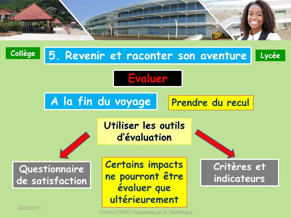 29/03/2011 Yvon AUFFRET Académie de la Martinique A la fin du voyage Collège Lycée 5. Revenir et raconter son aventure Evaluer Prendre du recul Critèr