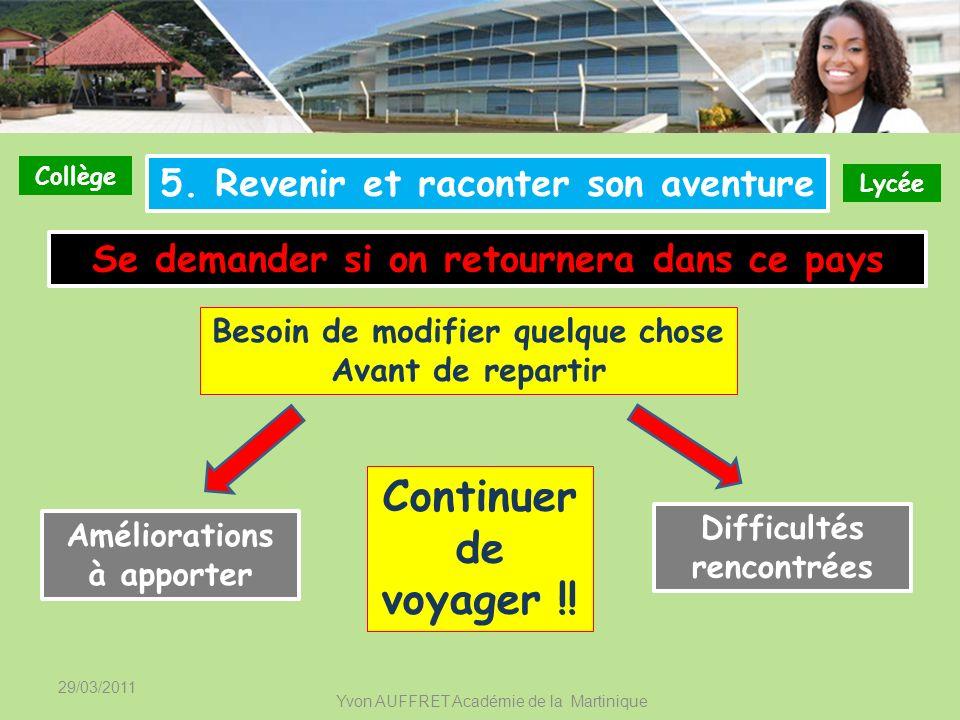 29/03/2011 Yvon AUFFRET Académie de la Martinique Collège Lycée 5. Revenir et raconter son aventure Se demander si on retournera dans ce pays Besoin d