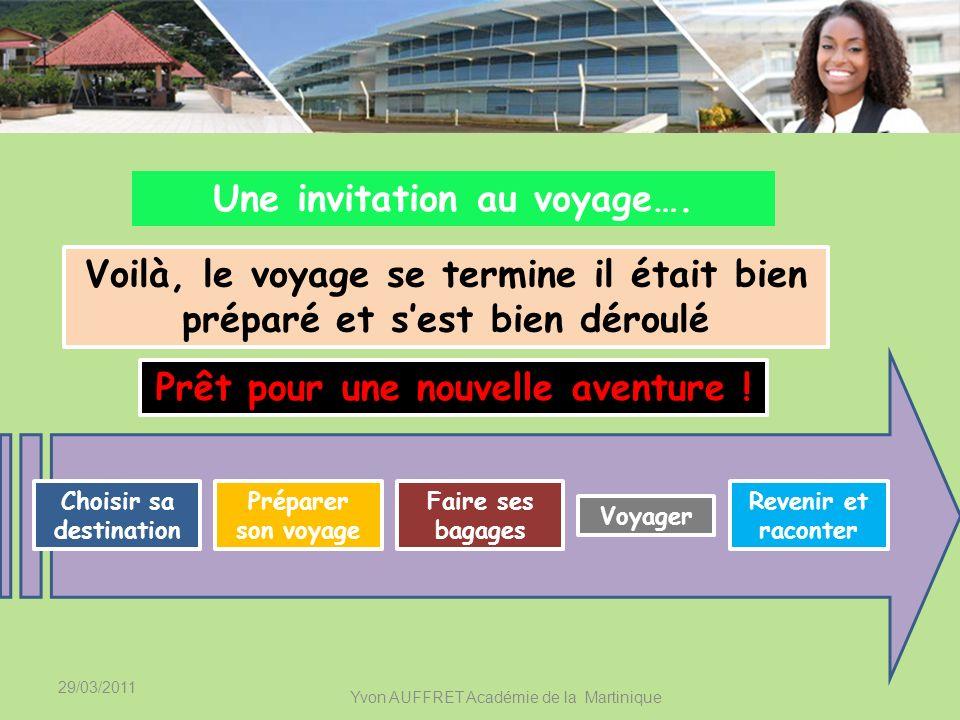 29/03/2011 Yvon AUFFRET Académie de la Martinique Une invitation au voyage…. Voyager Choisir sa destination Préparer son voyage Faire ses bagages Reve