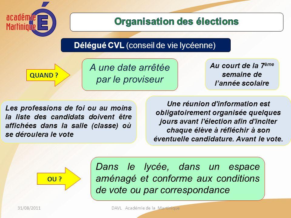 31/08/2011DAVL Académie de la Martinique Délégué CVL (conseil de vie lycéenne) QUAND .