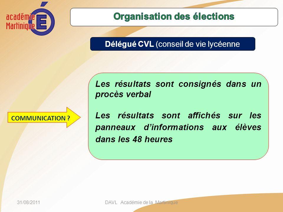 31/08/2011DAVL Académie de la Martinique Les résultats sont consignés dans un procès verbal Les résultats sont affichés sur les panneaux dinformations aux élèves dans les 48 heures COMMUNICATION .