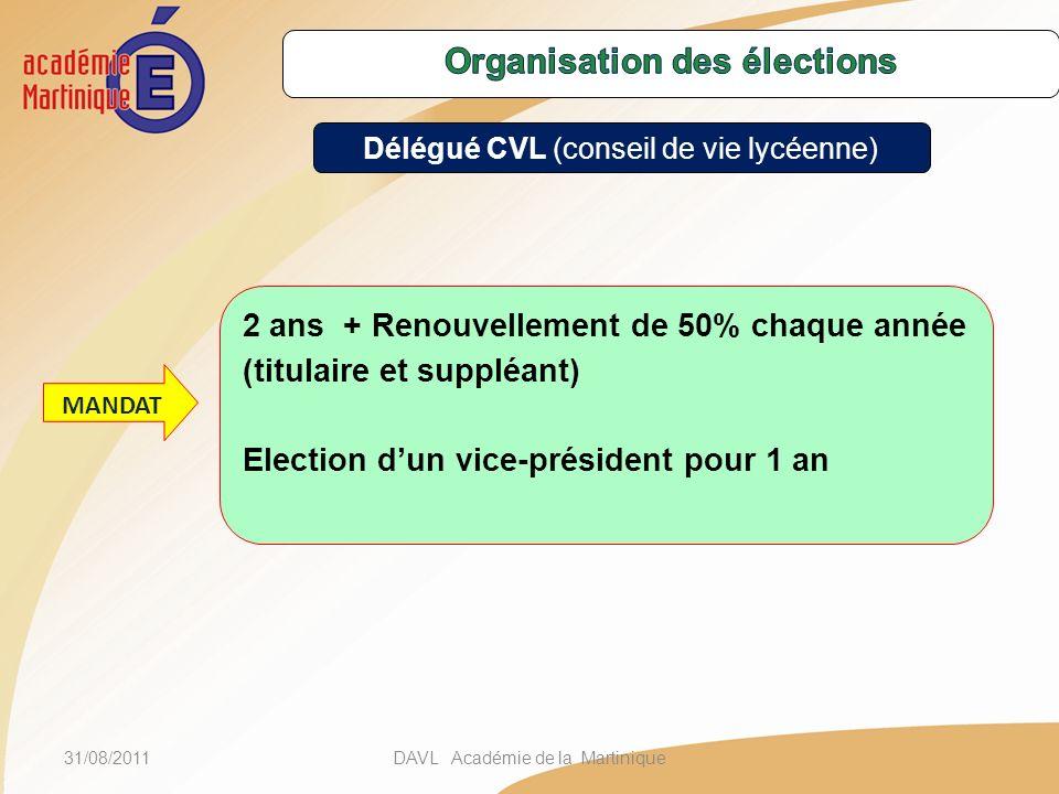 31/08/2011DAVL Académie de la Martinique 2 ans + Renouvellement de 50% chaque année (titulaire et suppléant) Election dun vice-président pour 1 an MANDAT Délégué CVL (conseil de vie lycéenne)