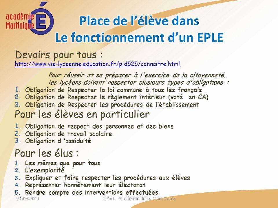 Pour lélève : 1.Un engagement citoyen qui lui permettra de connaitre les règles dorganisation et de fonctionnement des instances représentatives des lycéens dans les EPLE.