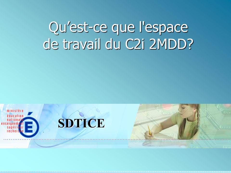 SDTICE Quest-ce que l espace de travail du C2i 2MDD